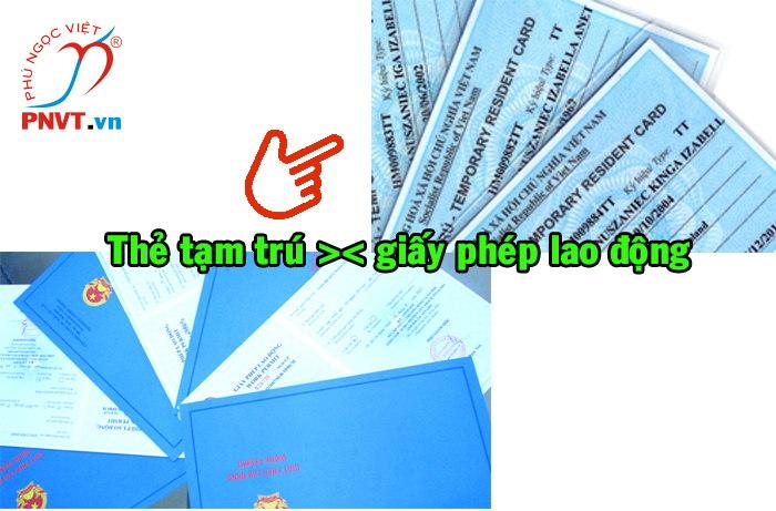 thẻ tạm trú cho người có giấy phép lao động