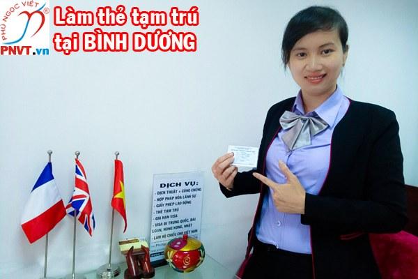 Thủ tục làm thẻ tạm trú cho người nước ngoài tại Bình Dương