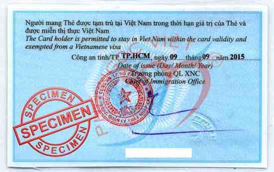 mẫu thẻ tạm trú cho người nước ngoài