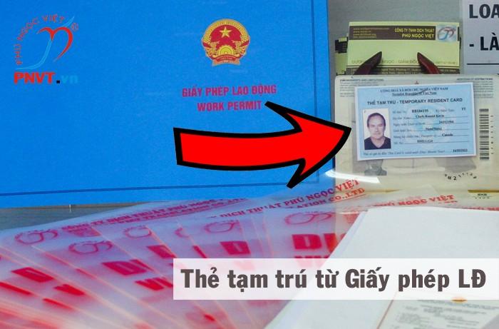 thẻ tạm trú cho người nước ngoài có giấy phép lao động