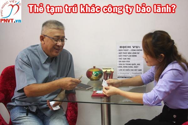 Thẻ tạm trú cho người nước ngoài khác công ty bảo lãnh