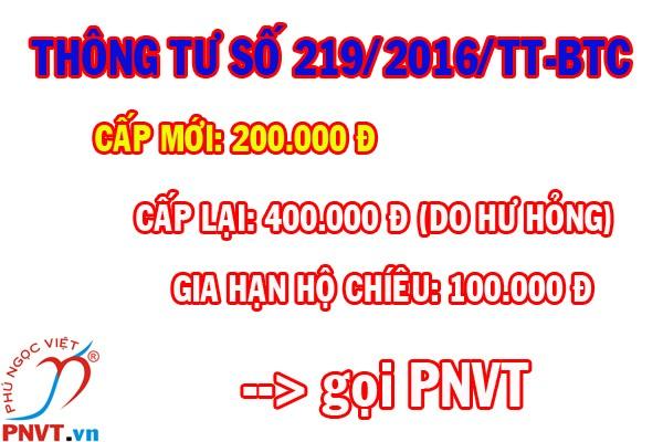 Thông tư 219/2016/TT-BTC lệ phí xuất nhập cảnh Việt Nam